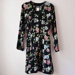 Vintage Long Sleeve Floral Print Dress